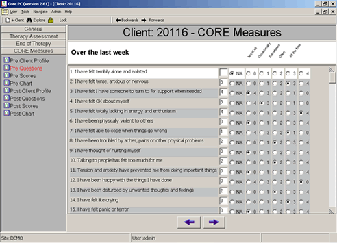 CORE-OM data entry screen